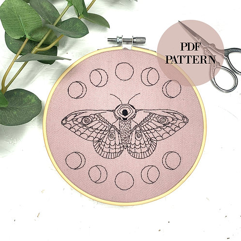 Moon Moth Embroidery Pattern