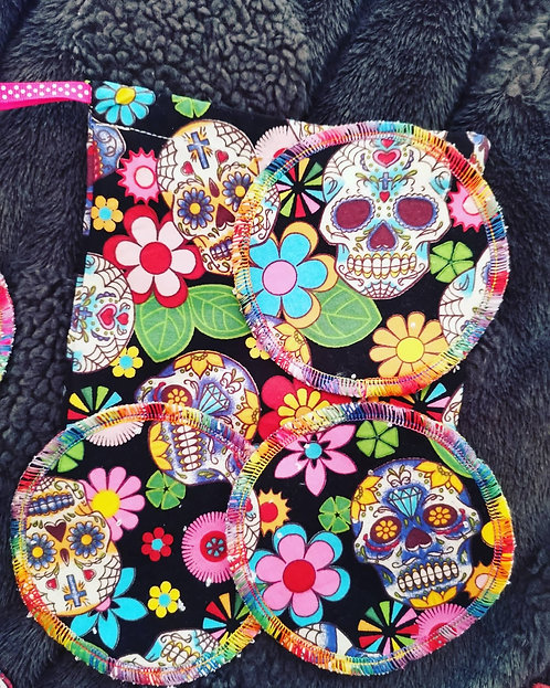 Bamboo & Cotton Day of Dead Make Up Pads & Wash Bag
