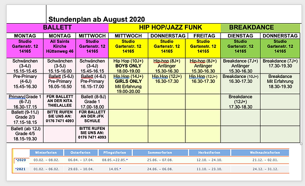 Adjusted timetable ab August 2020 (no fr