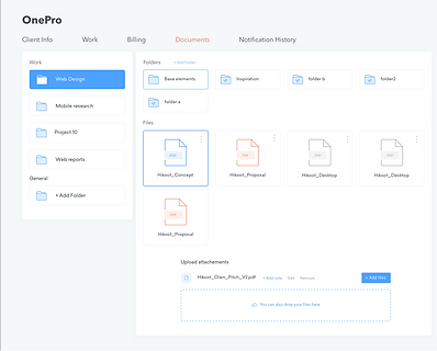 OnePro document management UI