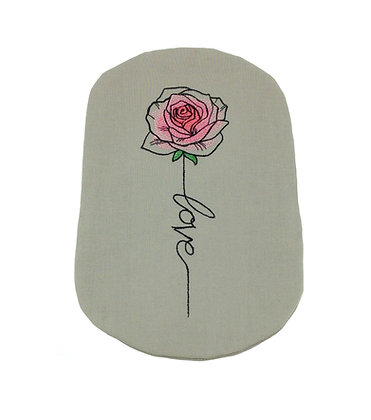 Soft grey cotton stoma bag cover rose embroidery Polar Moon