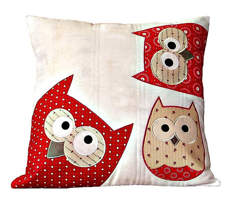 Owls Quilted Cushion Cover