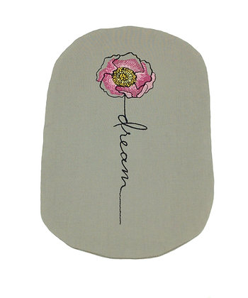 Soft grey cotton stoma bag cover embroidered rose Polar Moon