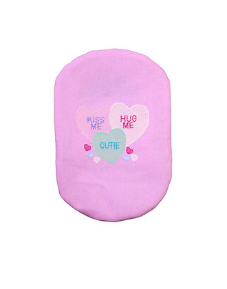 Pink stoma bag cover Love Hearts embroidery Polar Moon