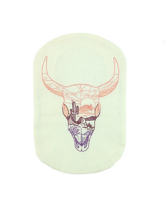 Oatmeal cotton stoma bag cover embroidered buffalo skull Polar Moon