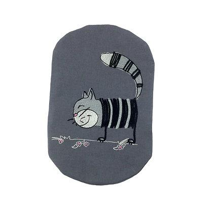 Grey cotton stoma bag cover embroidered Stripy Cat Polar Moon