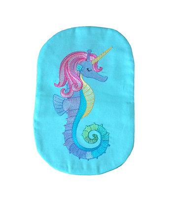 Blue cotton stoma bag cover seahorse embroidery Polar Moon