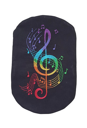 Stoma Bag Cover, Rainbow Treble Clef Black
