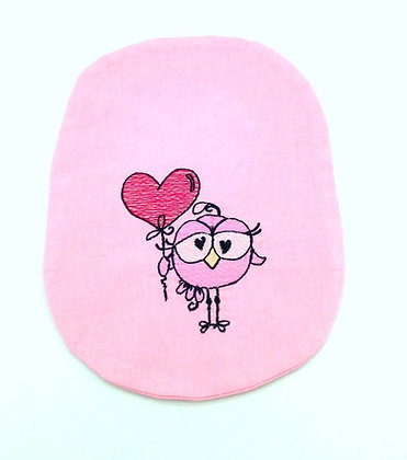 Pink cotton embroidered stoma bag cover Polar Moon