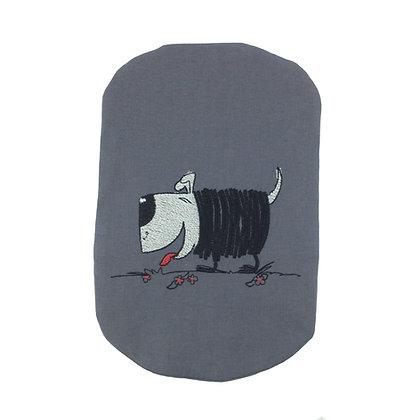 Grey cotton stoma bag cover black shaggy dog embroidery Polar Moon                       Polar Moon