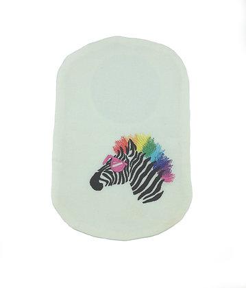 White cotton stoma bag cover zebra embroidery Polar Moon