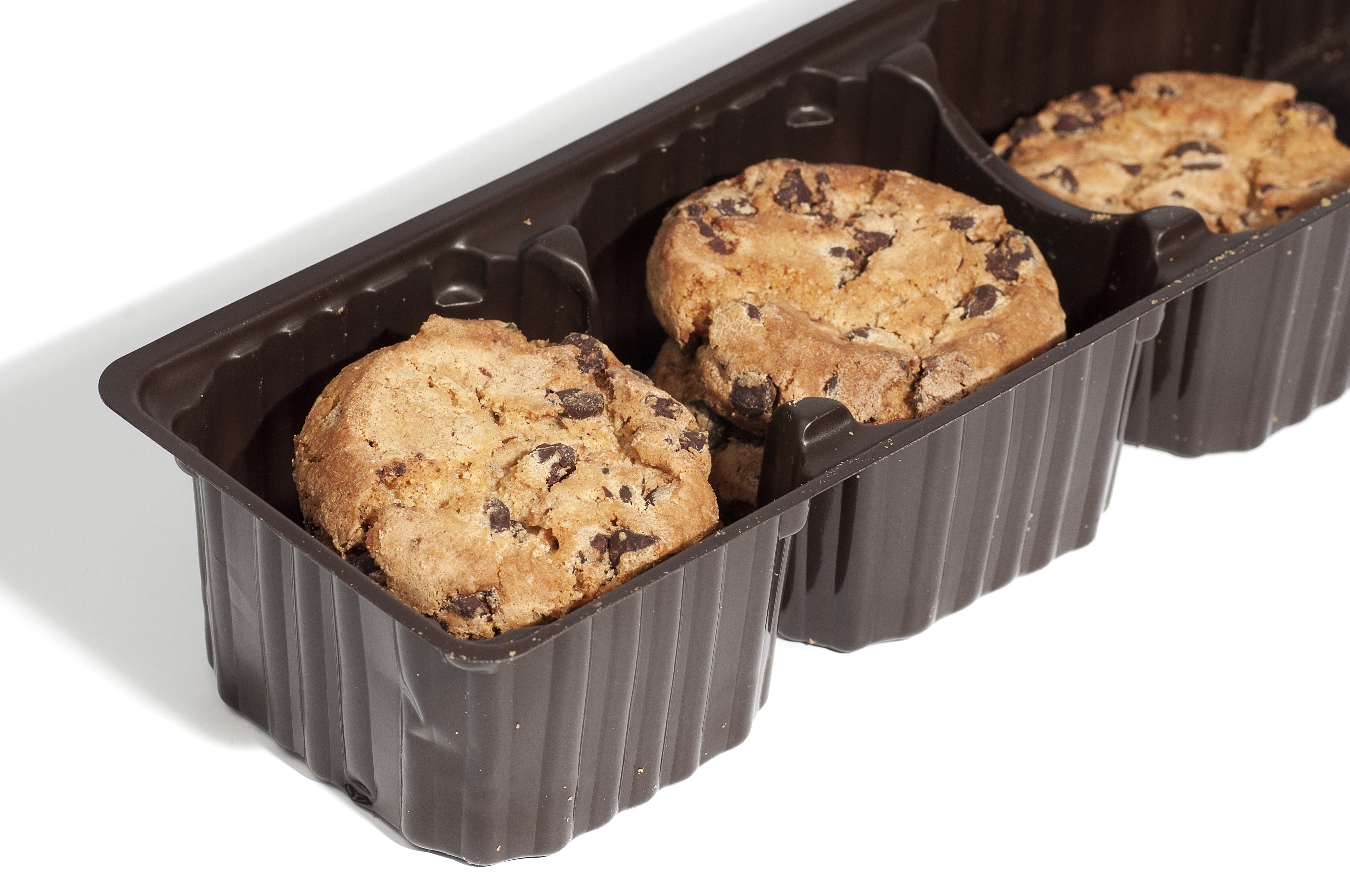 cookies packaged in a brown plastic container