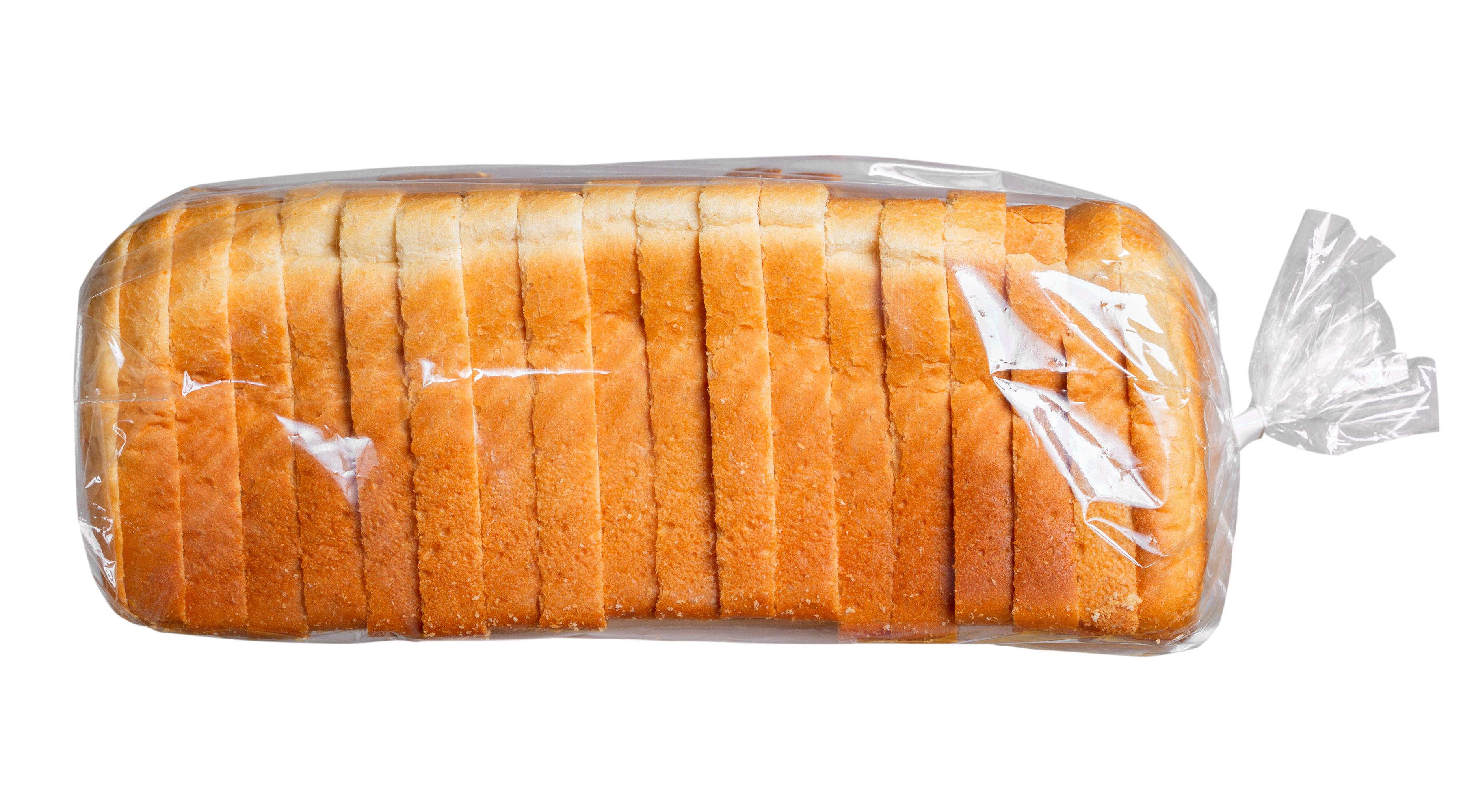 Sliced bread in plastic bag