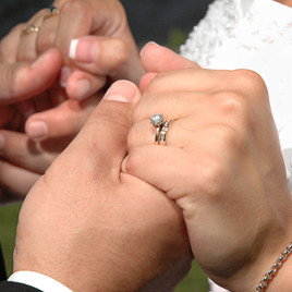 Closeup of Ring on Bride and Groom during Vows