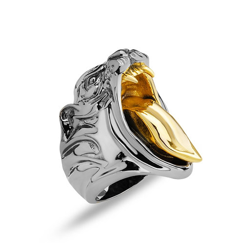 Wild Panther Solid Sterling Silver Mens Ring