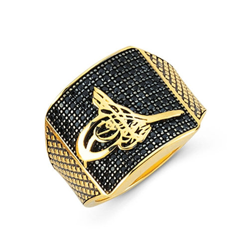 Tughra of Suleiman the Magnificent Solid Sterling Silver Mens Ring