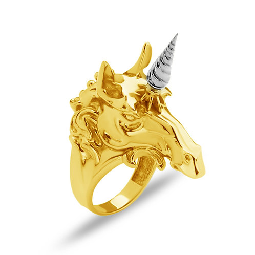 Unicorn Solid Sterling Silver Mens Ring