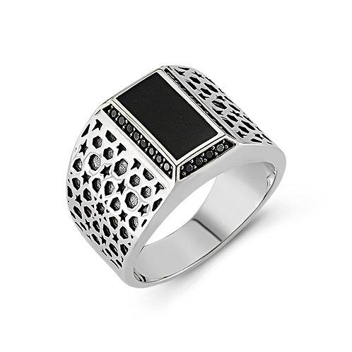 Islamic Art Geometric Pattern Solid Sterling Silver Mens Ring