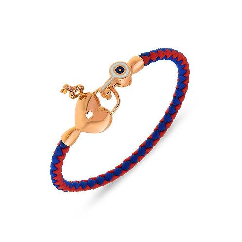 Heart Shaped Lock and Key Sterling Silver Rubber Womens Bracelet