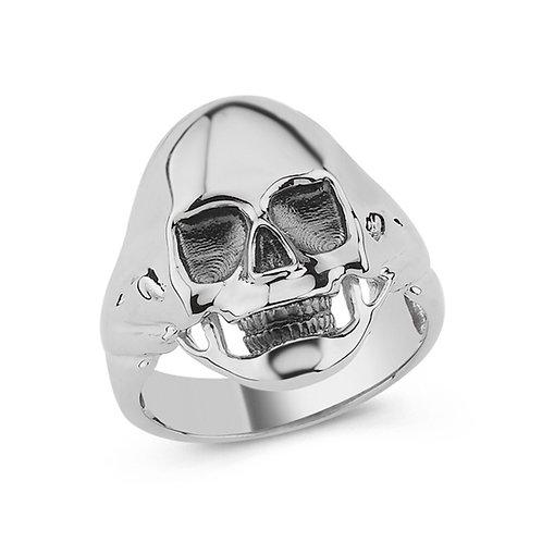 Skull Solid Sterling Silver Mens Ring