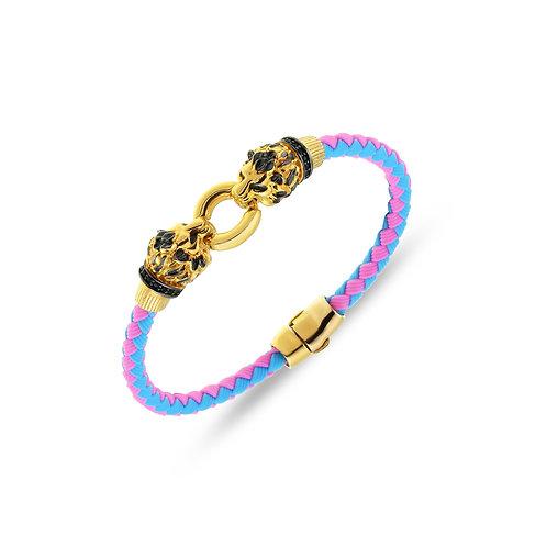 Lion Head Sterling Silver Rubber Womens Bracelet