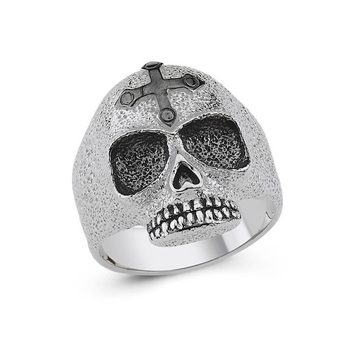 Skull Solid Sterling Silver Mens Ring