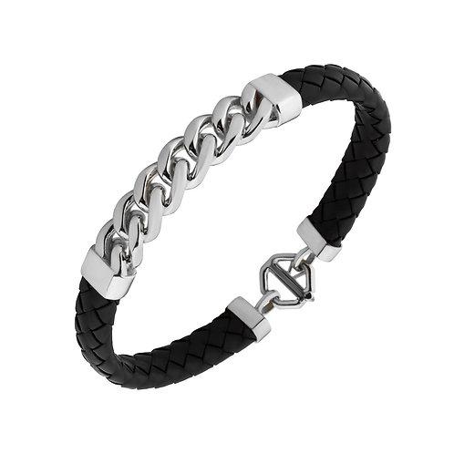 Chain Sterling Silver Rubber Mens Bracelet