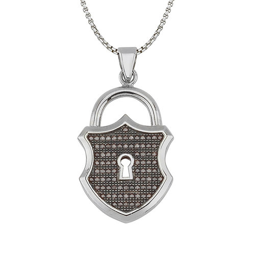 Padlock Sterling Silver Mens Necklace