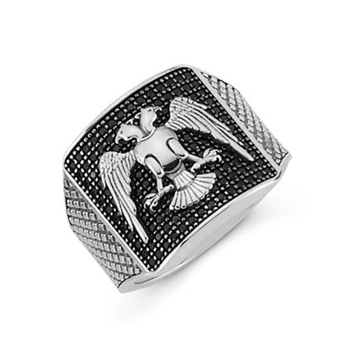 Double Headed Eagle Solid Sterling Silver Mens Ring