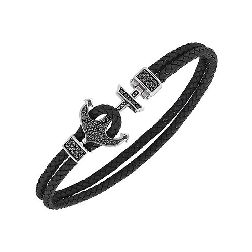 Anchor Sterling Silver Rubber Mens Bracelet