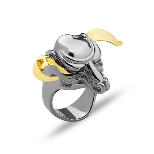Bull Solid Sterling Silver Mens Ring
