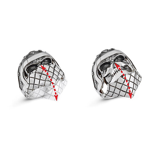 Moving Bandana Skull Solid Sterling Silver Mens Ring