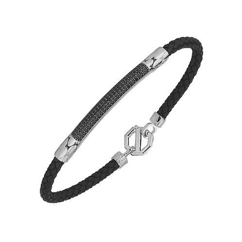 Classic Sterling Silver Rubber Mens Bracelet