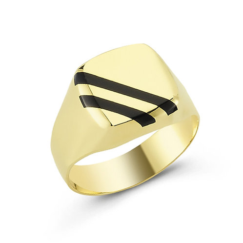 Stone Striped Solid Sterling Silver Mens Ring