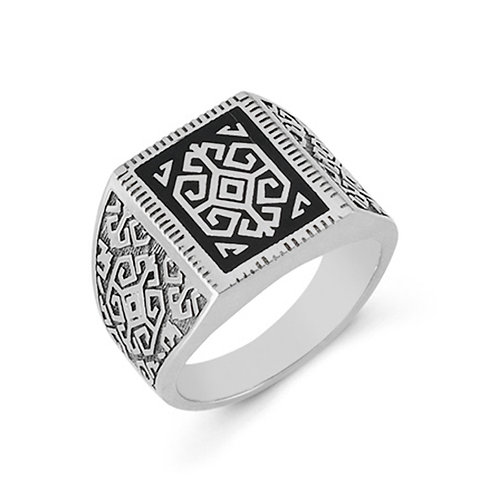 Anatolian Fertility Motif Solid Sterling Silver Mens Ring