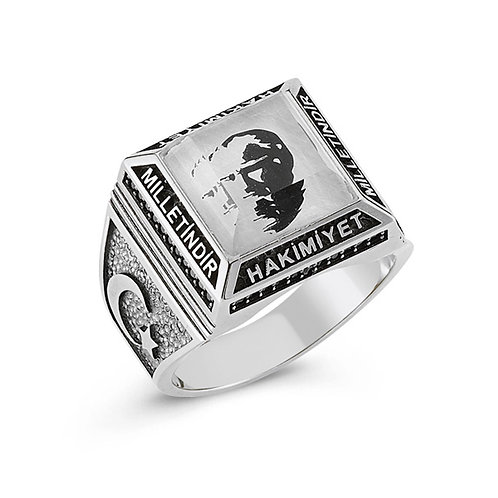 3D Ataturk Engraved Solid Sterling Silver Mens Ring
