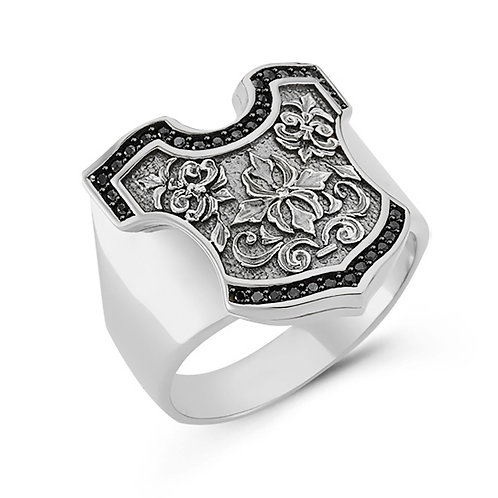 Shield Solid Sterling Silver Mens Ring