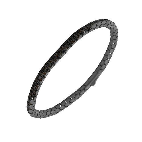 Classic 4.5mm Snake Sterling Silver Mens Bracelet
