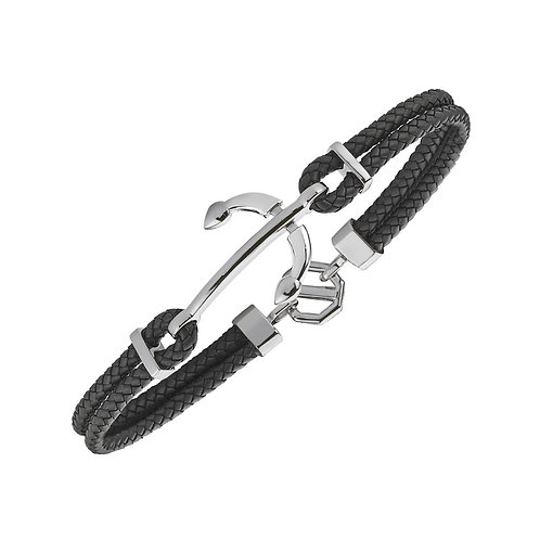 Anchor Sterling Silver Rubber Mens Bracelet