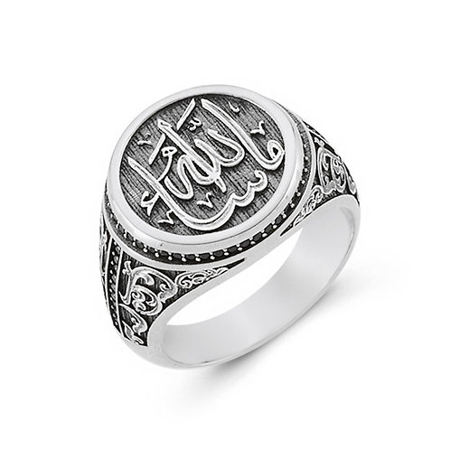 Mashallah Calligraphy Solid Sterling Silver Mens Ring