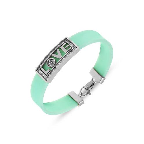 Love Script Sterling Silver Rubber Womens Bracelet