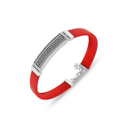 Pattern Sterling Silver Rubber Womens Bracelet
