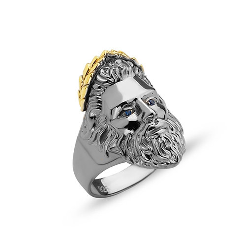 God of Sky Zeus Solid Sterling Silver Mens Ring