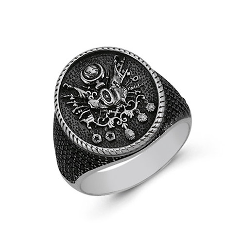 Ottoman Empire Coat of Arms Solid Sterling Silver Mens Ring