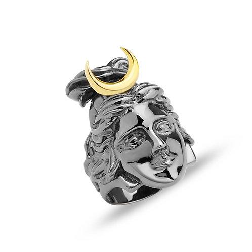 Moon Goddess Selene Solid Sterling Silver Mens Ring