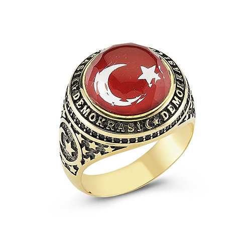 3D Turkish Flag Engraved Solid Sterling Silver Mens Ring