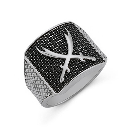 Sword Solid Sterling Silver Mens Ring