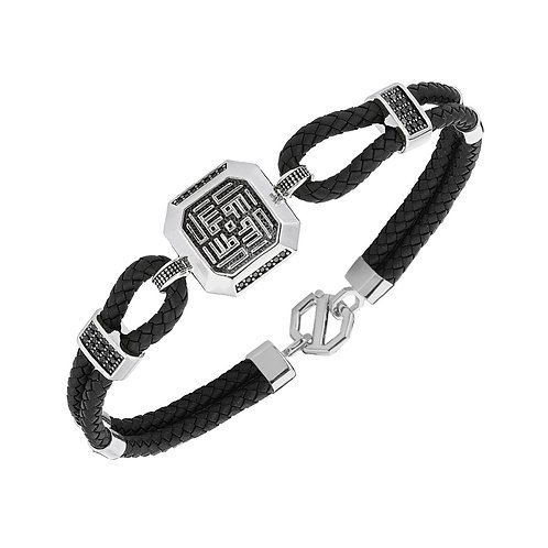 Motiffed Sterling Silver Rubber Mens Bracelet