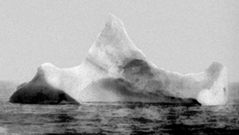 """The fake Prinz-Adalbert iceberg, allegedly taken hours after the Titanic """"sank"""" on the morning of April 15th, 1912. Isn't it more obviously fake?"""