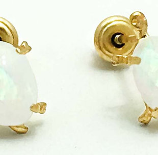 NATURAL OPALS TURTLE 14k Yellow Gold Earrings